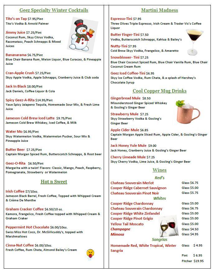 winter 2020 drink menu